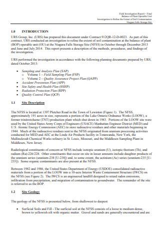 Field Investigation Report