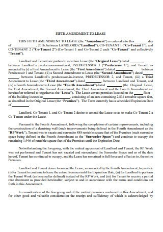 Fifth Amendment to Lease