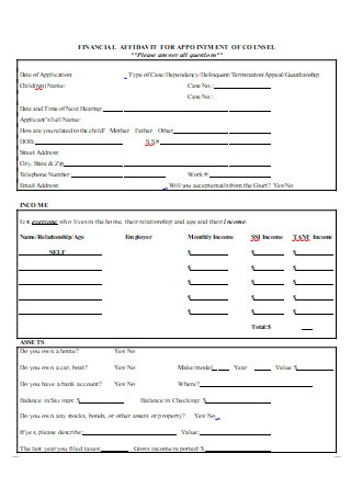 Financial Affidavit For Appointment of Counsel