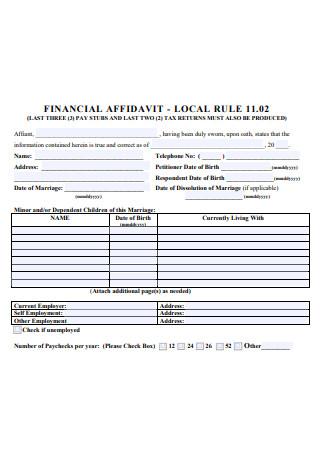 Financial Affidavit Local Rule