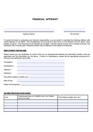 Financial Affidavit in PDF