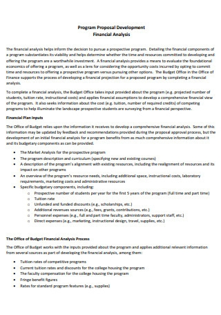 Financial Analysis Program Proposal Development