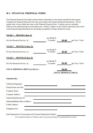 Financial Proposal Form