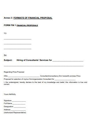 Financial Proposal Format