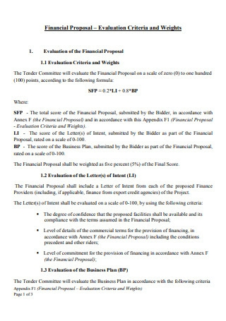Financial Proposal in PDF