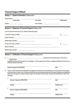 Financial Support Affidavit