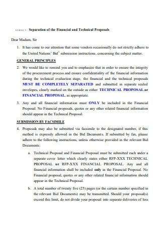 Financial and Technical Proposal
