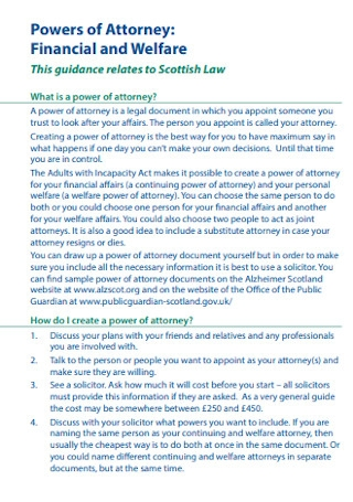 Financial and Welfare Powers of Attorney