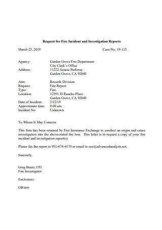 Fire Incident and Investigation Report