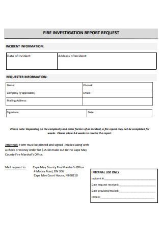Fire Investigation Report Request