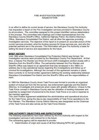 Fire Investigation Report Template