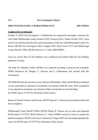 Fire Investigation Report in PDF