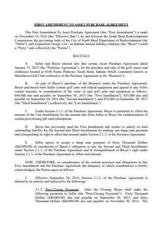 First Amendment to Asset Purchase Agreement