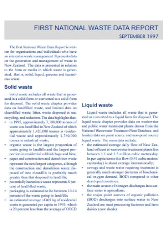 First National Waste Data Report