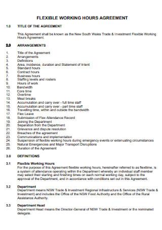 Flexible Working Hours Agreement