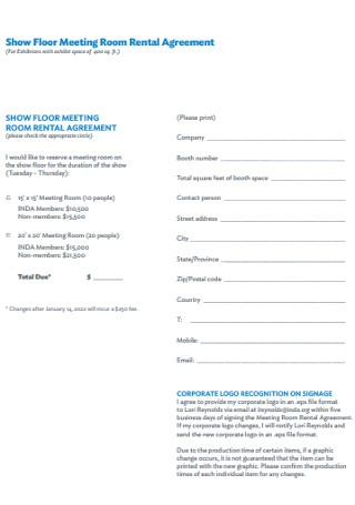 Floor Meeting Room Rental Agreement
