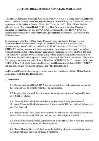 Form HIPAA Business Associate Agreement