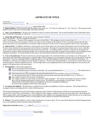 Formal Affidavit of Title