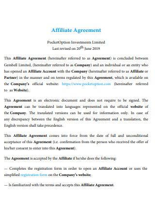 Formal Affiliate Agreement