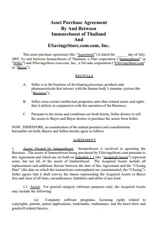 Formal Asset Purchase Agreement