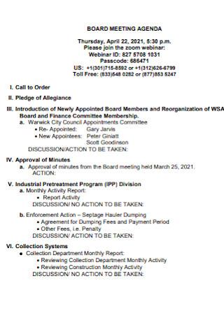 Formal Board Meeting Agenda