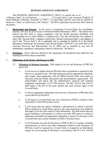 Formal Business Associate Agreement