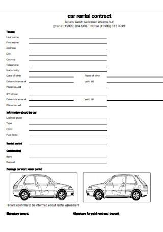 Formal Car Rental Contract