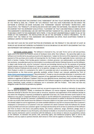 Formal End User License Agreement