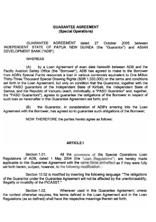 Formal Guarantee Agreement