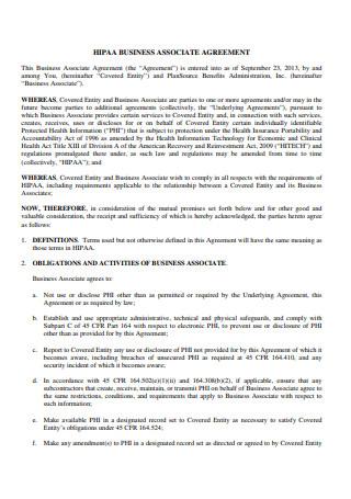 Formal HIPAA Business Associate Agreement