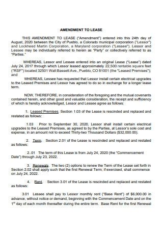 Formal Lease Amendment