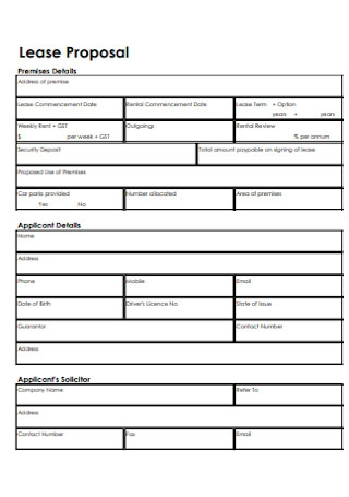 Formal Lease Proposal