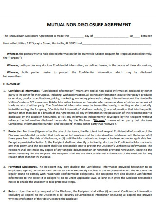 Formal Mutual Non Disclosure Agreement
