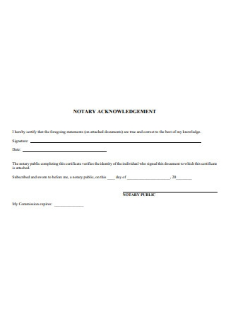 Formal Notary Acknowledgement
