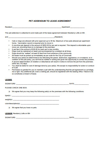 Formal Pet Addendum to a Lease Agreement