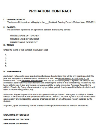 Formal Probation Contract