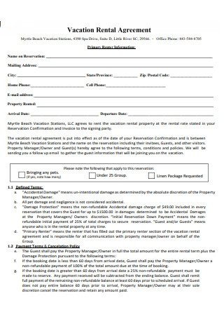 Formal Vacation Rental Agreement