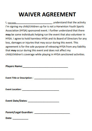 Formal Waiver Agreement