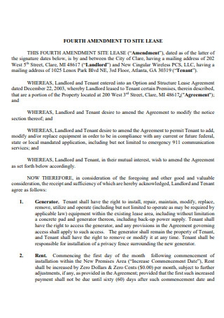 Fourth Amendment to Site Lease