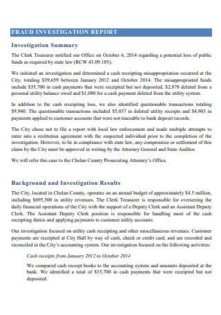 Fraud Investigation Report