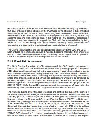 Fraud Risk Assessment Final Report