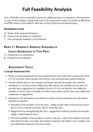Full Feasibility Analysis Template