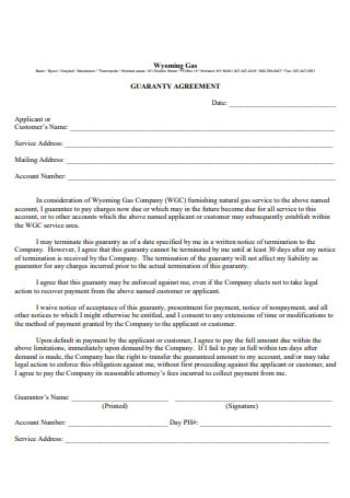 Gas Company Guaranty Agreement