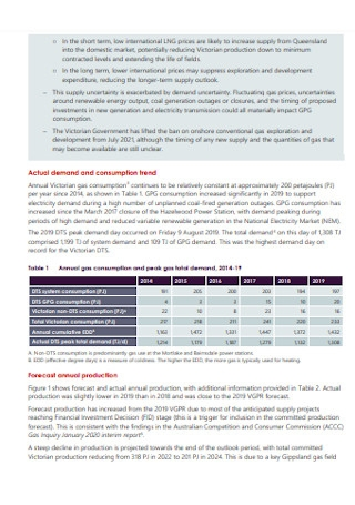 Gas Planning Report