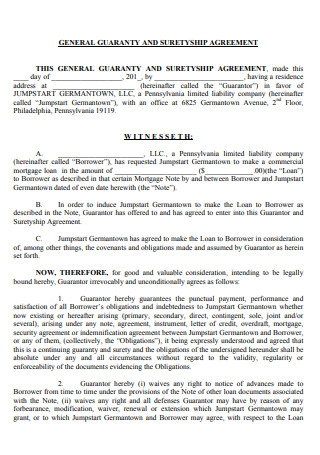 General Guaranty and Suretyship Agreement