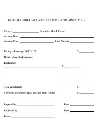 General Ledger Balance Sheet Account Reconciliation