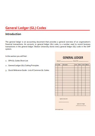 General Ledger Codes