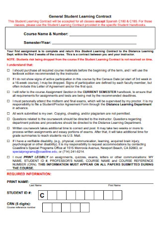 General Student Learning Contract