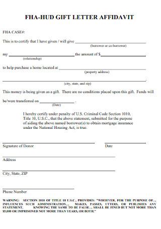 Gift Letter Affidavit