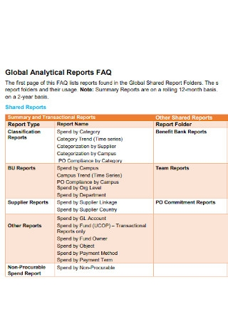 Global Analytical Reports